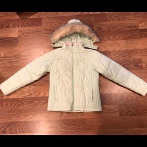 LL Bean Girls size XL 18 Winter Coat w- faux fur